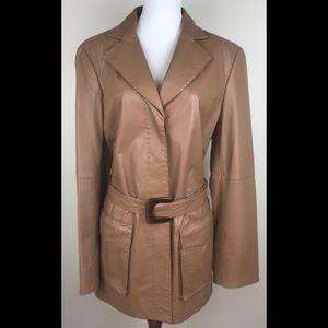 WORTH Leather jacket size 14 Carmel brown